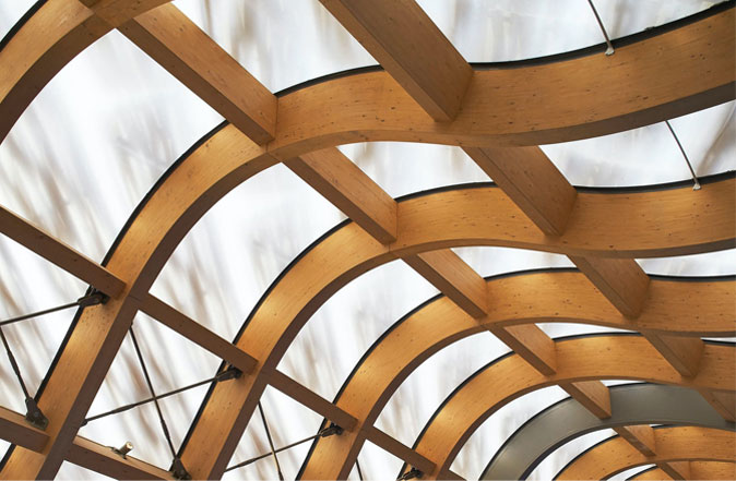 Curved Glulam engineered SPF Timber beam for assembly
